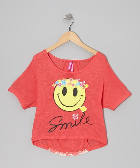 Coral Happy Face Lace Top