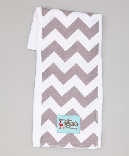 Gray & White Chevron Burp Cloth