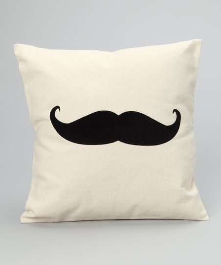 Natural & Black Mustache Pillow