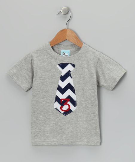 Gray & Navy Chevron Personalized Tie Tee - Infant, Toddler & Boys