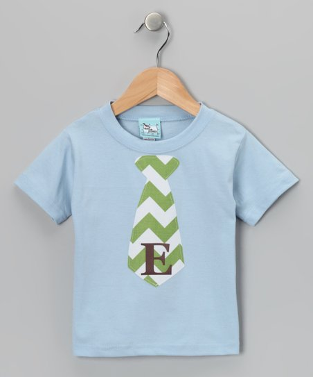 Blue Chevron Personalized Tie Tee - Infant, Toddler & Boys