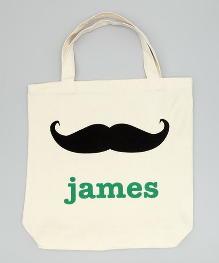 Natural Mustache Personalized Tote