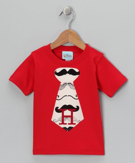 Red Mustache Initial Tie Tee - Infant, Toddler & Boys