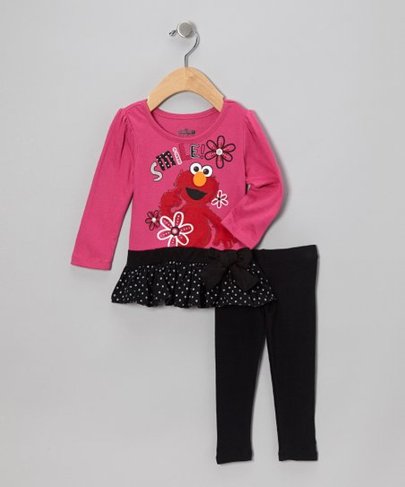Pink & Black Elmo Skirted Tunic & Leggings - Infant
