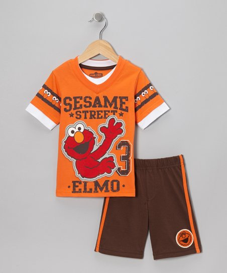Orange & Brown '3' Elmo Tee & Shorts - Infant