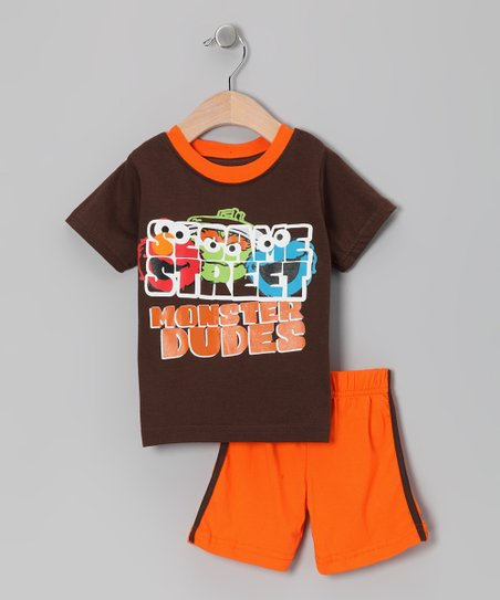 Brown & Orange 'Monster' Tee & Shorts - Infant