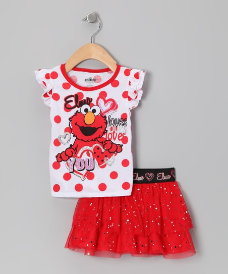 Red Polka Dot Elmo Tee & Skirt - Toddler