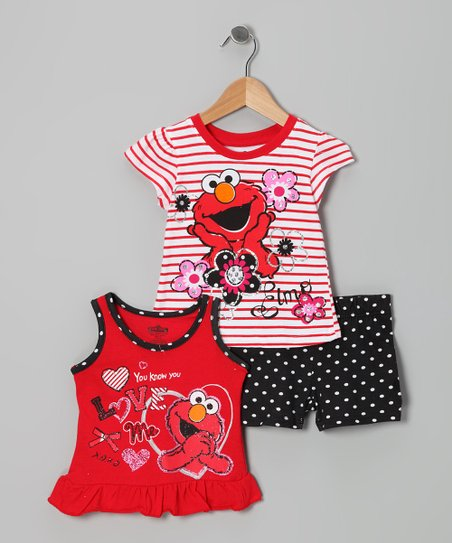 Red & Black Elmo Tank Set - Toddler