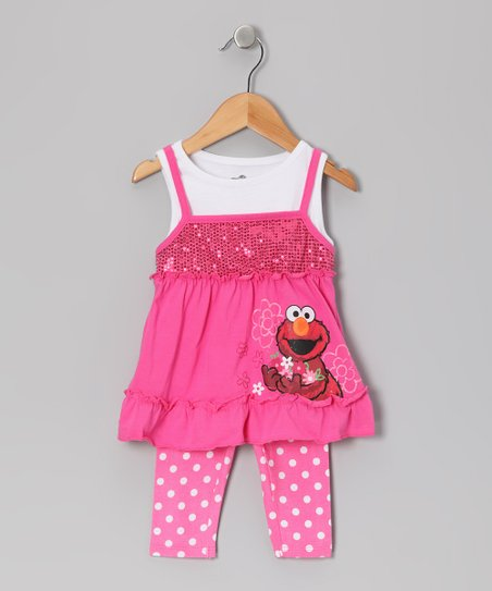Pink Polka Dot Elmo Layered Tunic & Leggings - Toddler