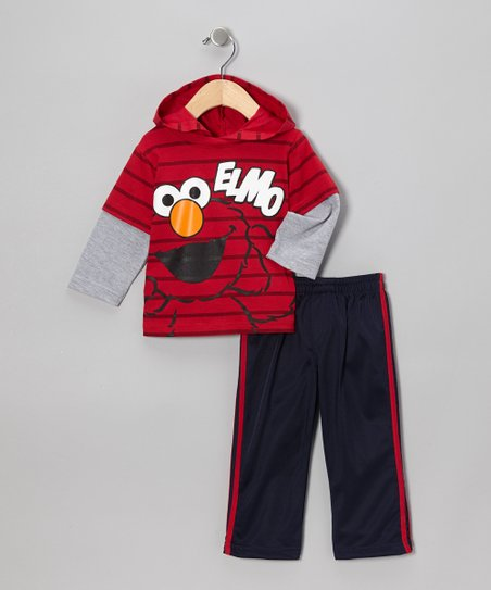 Red & Navy Elmo Hooded Tee & Track Pants