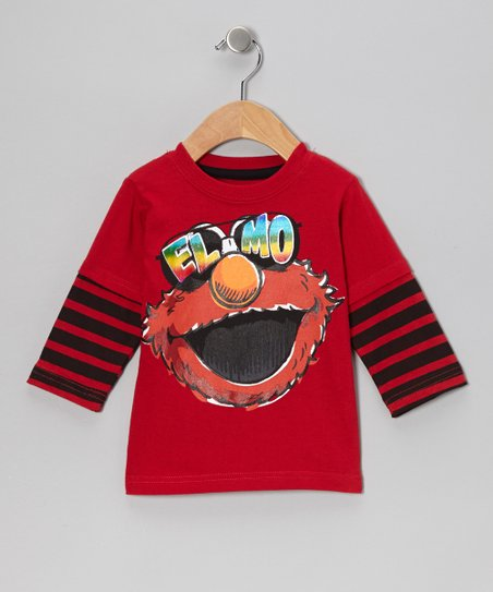 Red Stripe Elmo Sunglasses Layered Tee - Toddler