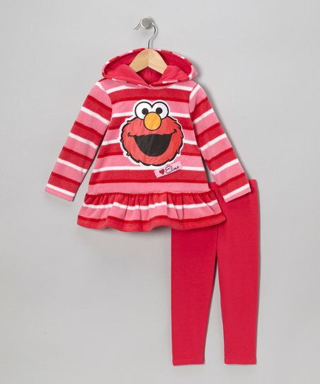 Pink Stripe Elmo Hooded Tunic & Leggings - Infant