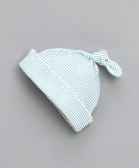 Blue Tiny Stripe Single-Knot Beanie