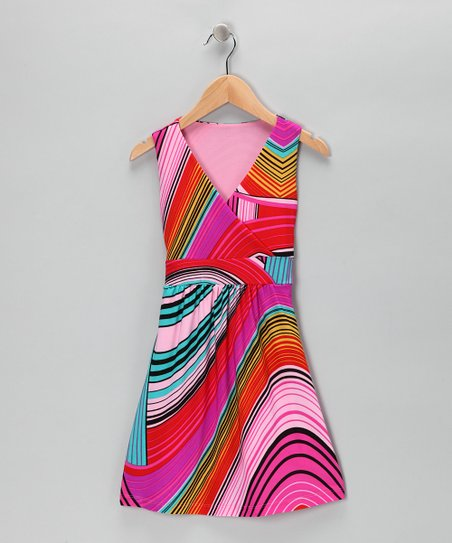 Pink Swirl Stripe Wrap Dress
