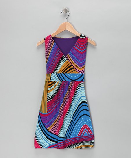Purple Swirl Stripe Wrap Dress