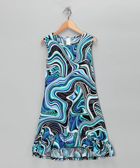 Blue Wave Ruffle Dress