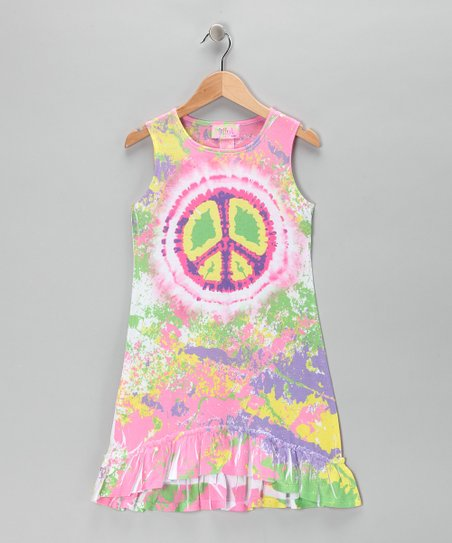 Rainbow Peace Ruffle Dress