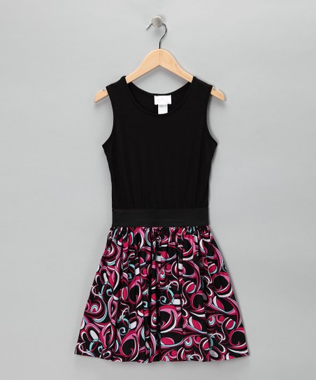 Black & Fuchsia Swirl Dress