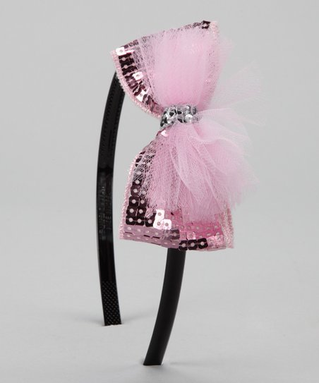 Pink Sequin Bow Headband