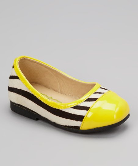 Yellow & Black Zebra Tiptoe Flat