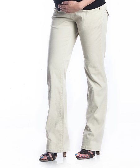 Khaki Over-Belly Maternity Pants
