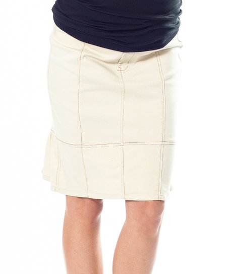 Khaki Over-Belly Maternity Skirt
