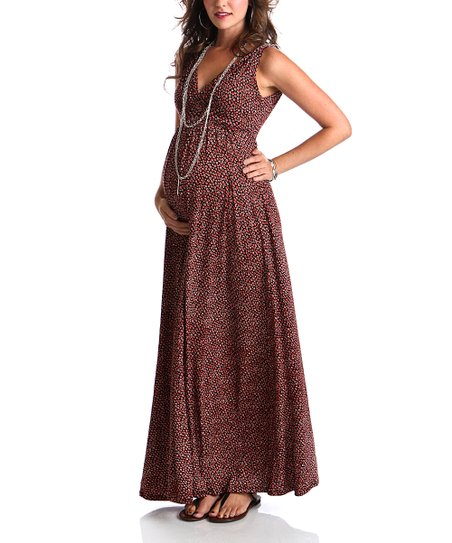 Coral Polka Dot Maternity Maxi Dress