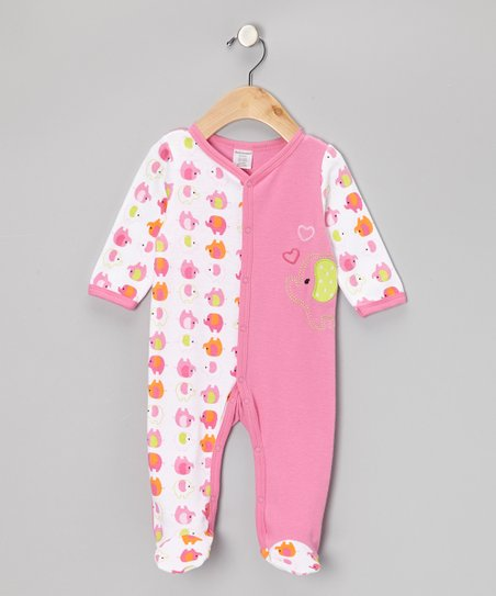 Pink Elephant Footie - Infant
