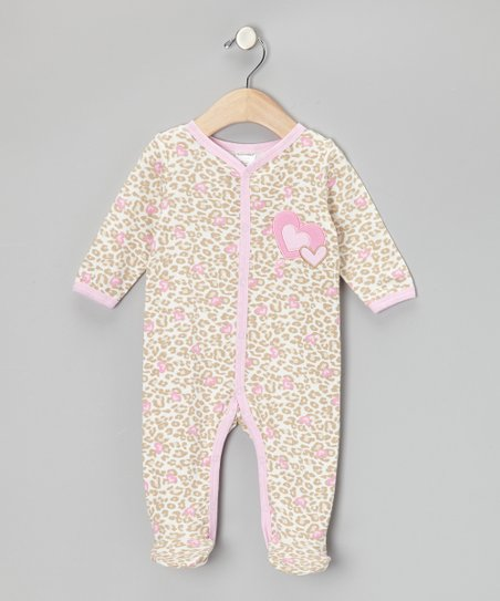 Pink Leopard Heart Footie - Infant