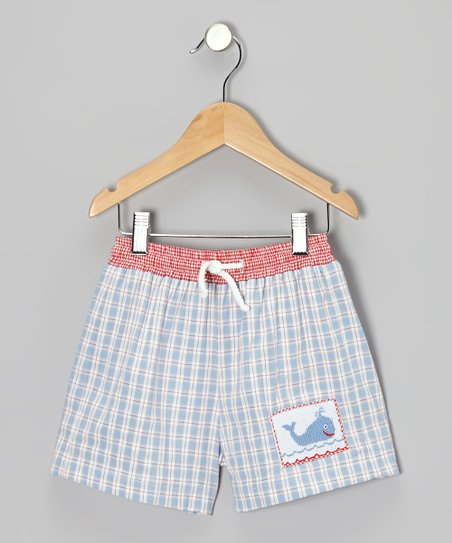 Light Blue Plaid Whale Smocked Shorts - Infant, Toddler & Boys