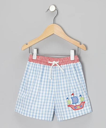 Light Blue Gingham Pirate Smocked Shorts - Infant