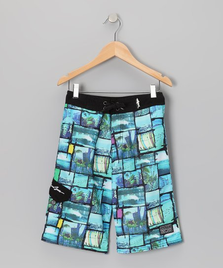 Blue Instamatic Boardshorts - Boys