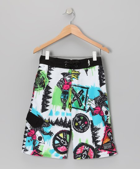 White Roots Rock Boardshorts