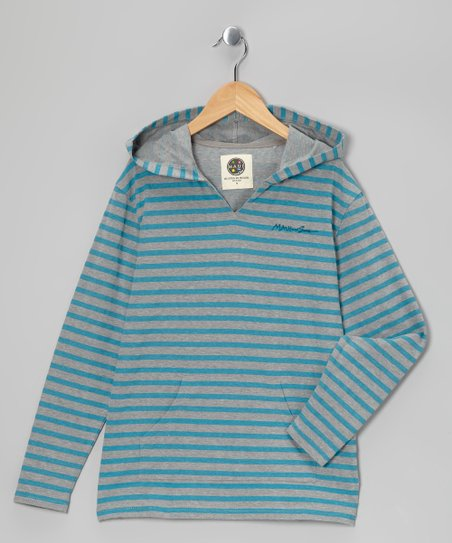 Heather Gray Stripe Hoodie - Boys