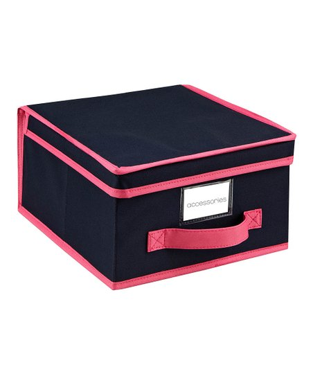 Navy &amp; Fuchsia Medium Storage Box