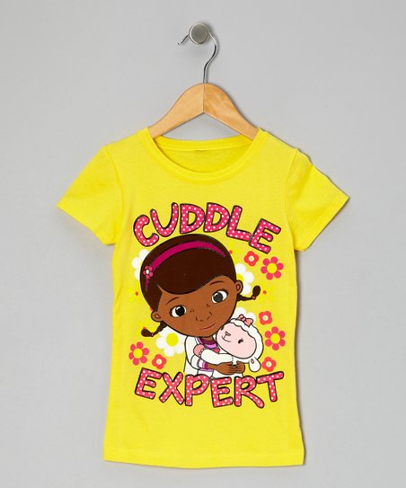 Yellow 'Cuddle Expert' Tee - Girls
