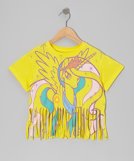 Yellow Unicorn Fringe Tank - Girls