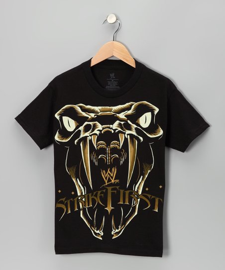Black 'Strike First' Snake Tee - Boys