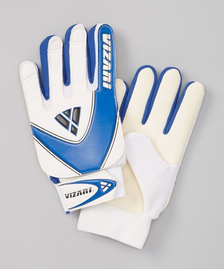 White & Blue Junior Match Goalkeeper Gloves - Kids