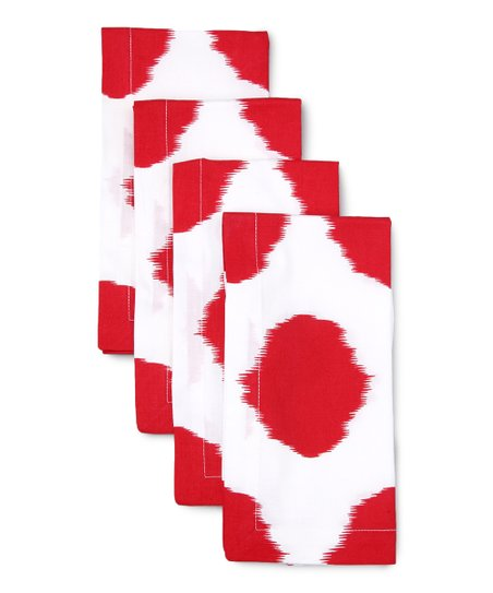 Red Ikat Dot Napkin - Set of Four