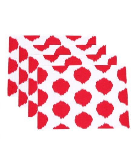 Red Ikat Dot Placemat - Set of Four