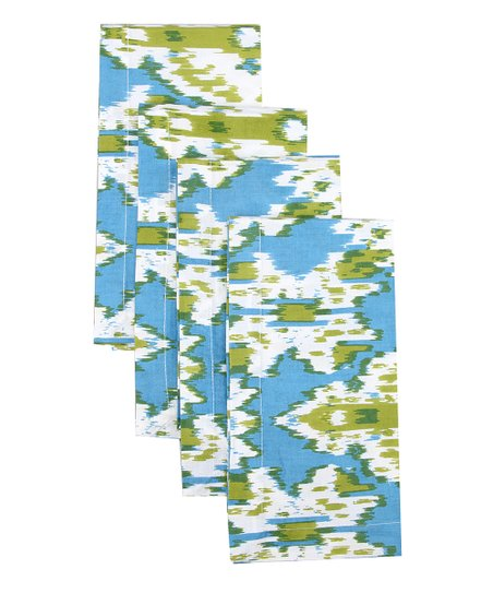 Fete Aqua & Lime Ikat Napkin - Set of Four