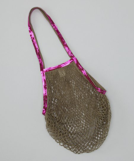Gray & Purple Sequin Mesh Bag