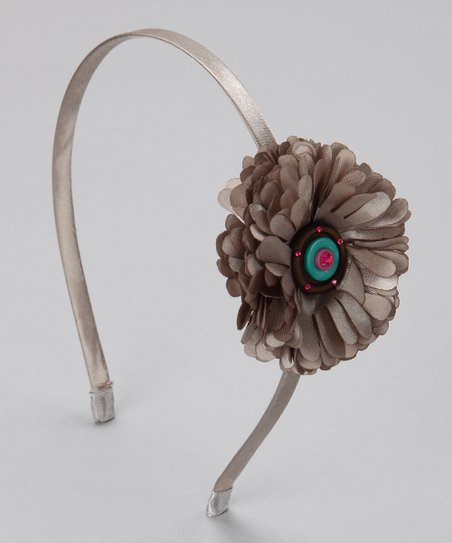 Silver Button Flower Headband