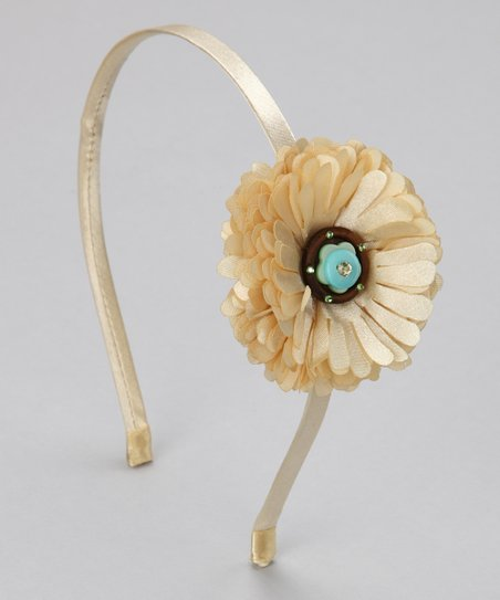 Cream Button Flower Headband