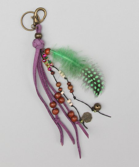 Green Feather Leather Key Chain