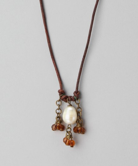 Amber & Pearl Gypsy Victoria Necklace