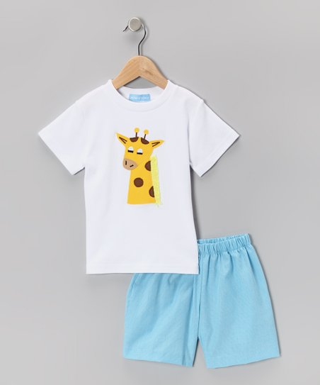 White Giraffe Tee & Blue Shorts - Infant & Toddler