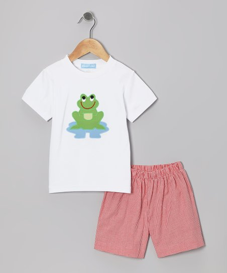 White Frog Tee & Red Gingham Shorts - Toddler & Boys