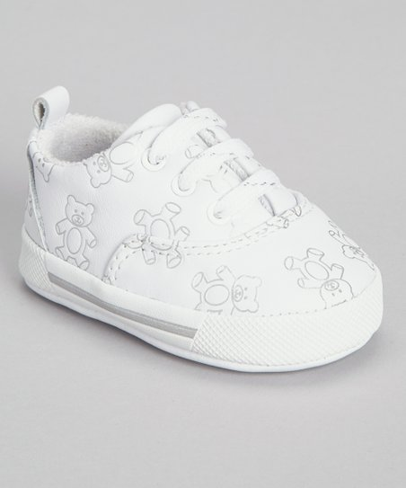 White Leather Teddy Bear Sneaker